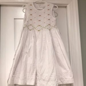 Rare Editions 4T White smocked dress/Never worn.